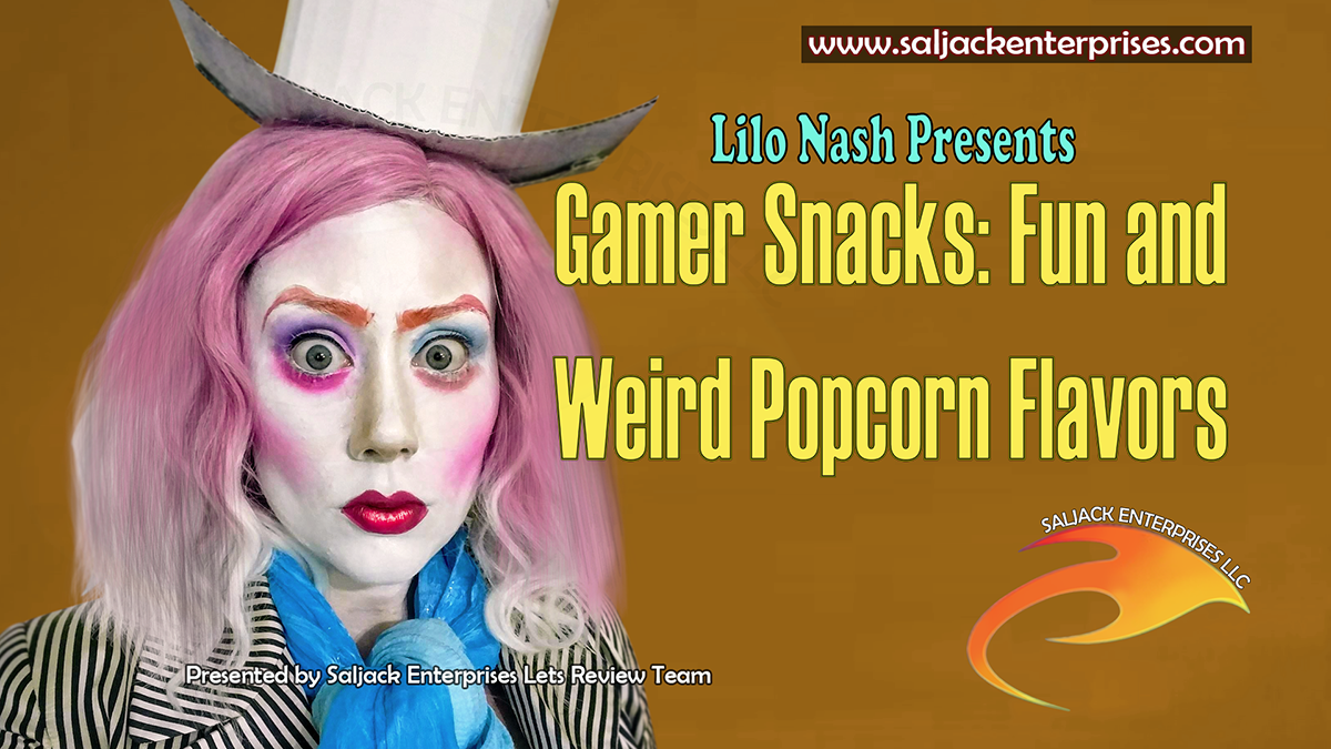 Gamer Snacks: Fun and Weird Popcorn Flavors. Presented by Saljack Enterprises. Gaming. Animation. Media. Entertainment. Woman Owned. Short Films. Animated Movies. Kids Cartoons. Game Development.